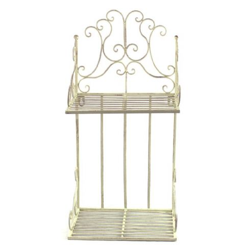 Cream Metal 2 Tier Bathroom Wall Shelves